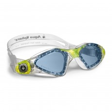 Aqua Sphere 'Kayenne' Junior Swimming/Triathlon Goggles - Clear/Lime with Blue Lens