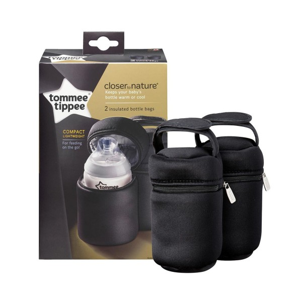 2 pack Tommee Tippee Closer to Nature Insulated Bottle Bag Thermal Buggy Handle
